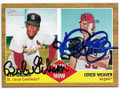 BOB GIBSON & JERED WEAVER ST LOUIS CARDINALS & LOS ANGELES ANGELS OF ANAHEIM DOUBLE AUTOGRAPHED BASEBALL CARD #30319D