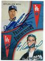 HYUN-JIN RYU & SANDY KOUFAX LOS ANGELES DODGERS DOUBLE AUTOGRAPHED BASEBALL CARD #30319F