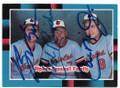 BILLY RIPKEN, CAL RIPKEN SR & CAL RIPKEN JR BALTIMORE ORIOLES TRIPLE AUTOGRAPHED VINTAGE BASEBALL CARD #31719D