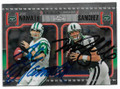JOE NAMATH & MARK SANCHEZ NEW YORK JETS DOUBLE AUTOGRAPHED FOOTBALL CARD #31719F