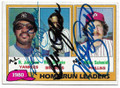 REGGIE JACKSON, BEN OGLIVIE & MIKE SCHMIDT NEW YORK YANKEES, MILWAUKEE BREWERS & PHILADELPHIA PHILLIES TRIPLE AUTOGRAPHED VINTAGE BASEBALL CARD #31819A