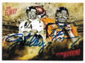 JOHN ELWAY & PEYTON MANNING DENVER BRONCOS DOUBLE AUTOGRAPHED FOOTBALL CARD #31819C