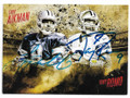TROY AIKMAN & TONY ROMO DALLAS COWBOYS DOUBLE AUTOGRAPHED FOOTBALL CARD #31919D