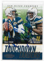 PHILIP RIVERS & ANTONIO GATES SAN DIEGO CHARGERS DOUBLE AUTOGRAPHED FOOTBALL CARD #32019E