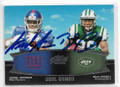 JERREL JERNIGAN & BILAL POWELL NEW YORK GIANTS & NEW YORK JETS DOUBLE AUTOGRAPHED ROOKIE FOOTBALL CARD #32119F