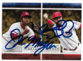 JOE MORGAN & BRANDON PHILLIPS CINCINNATI REDS DOUBLE AUTOGRAPHED BASEBALL CARD #32319A
