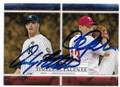 ANDY PETTITTE & CLUFF LEE NEW YORK YANKEES & PHILADELPHIA PHILLIES DOUBLE AUTOGRAPHED BASEBALL CARD #32519A