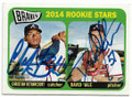 CHRISTIAN BETHANCOURT & DAVID HALE ATLANTA BRAVES DOUBLE AUTOGRAPHED ROOKIE BASEBALL CARD #32519B