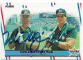 MARK McGWIRE & JOSE CANSECO OAKLAND ATHLETICS DOUBLE AUTOGRAPHED VINTAGE BASEBALL CARD #32619A