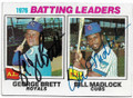 GEORGE BRETT & BILL MADLOCK KANSAS CITY ROYALS & CHICAGO CUBS DOUBLE AUTOGRAPHED VINTAGE BASEBALL CARD #32619B