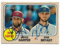 BRYCE HARPER & KRIS BRYANT WASHINGTON NATIONALS & CHICAGO CUBS DOUBLE AUTOGRAPHED BASEBALL CARD #32719B