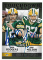 AARON RODGERS & JORDY NELSON GREEN BAY PACKERS DOUBLE AUTOGRAPHED FOOTBALL CARD #32819F
