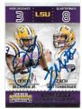 ODELL BECKHAM JR & ZACH METTENBERGER LOUISIANA STATE UNIVERSITY TIGERS DOUBLE AUTOGRAPHED FOOTBALL CARD #40119E
