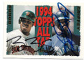 BARRY BONDS & KEN GRIFFEY JR SAN FRANCISCO GIANTS & SEATTLE MARINERS DOUBLE AUTOGRAPHED VINTAGE BASEBALL CARD #40319B