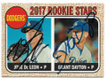 JOSE DeLEON & GRANT DAYTON LOS ANGELES DODGERS DOUBLE AUTOGRAPHED BASEBALL CARD #40519B