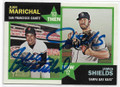 JUAN MARICHAL & JAMES SHIELDS SAN FRANCISCO GIANTS & TAMPA BAY RAYS DOUBLE AUTOGRAPHED BASEBALL CARD #40519H