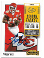 TYREEK HILL KANSAS CITY CHIEFS AUTOGRAPHED FOOTBALL CARD #40619J