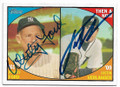 WHITEY FORD & JUSTIN VERLANDER NEW YORK YANKEES & DETROIT TIGERS DOUBLE AUTOGRAPHED BASEBALL CARD #40719A
