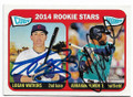 LOGAN WATKINS & ABRAHAM ALMONTE CHICAGO CUBS & SEATTLE MARINERS DOUBLE AUTOGRAPHED ROOKIE BASEBALL CARD #40719i