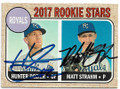 HUNTER DOZIER & MATT STRAHM KANSAS CITY ROYALS DOUBLE AUTOGRAPHED BASEBALL CARD #40819D