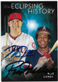 MIKE TROUT & ROD CAREW lOS ANGELES ANGELS OF ANAHEIM & CALIFORNIA ANGELS DOUBLE AUTOGRAPHED BASEBALL CARD #41119H