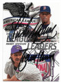RANDY JOHNSON & PEDRO MARTINEZ ARIZONA DIAMONDBACKS & BOSTON RED RED SOX DOUBLE AUTOGRAPHED BASEBALL CARD #41219D