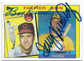 BOB KENNEDY AND TERRY KENNEDY CLEVELAND INDIANS & SAN DIEGO PADRES DOUBLE AUTOGRAPHED VINTAGE BASEBALL CARD #41219F
