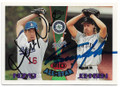 HIDEO NOMO & RANDY JOHNSON LOS ANGELES DODGERS ROOKIE & SEATTLE MARINERS DOUBLE AUTOGRAPHED BASEBALL CARD #41219J