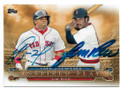 YOENIS CESPEDES & JIM RICE BOSTON RED SOX DOUBLE AUTOGRAPHED BASEBALL CARD #41419B