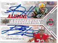 AJ HAWK & JAMES LAURINAITIS THE OHIO STATE UNIVERSITY BUCKEYES ALUMNI DOUBLE AUTOGRAPHED ROOKIE FOOTBALL CARD #41519G
