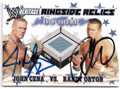JOHN CENA & RANDY ORTON DOUBLE AUTOGRAPHED PIECE OF EVENT USED MAT WRESTLING CARD #41519J