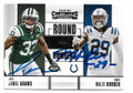 JAMAL ADAMS & MALIK HOOKER NEW YORK JETS & INDIANAPOLIS COLTS DOUBLE AUTOGRAPHED ROOKIE FOOTBALL CARD #41619F