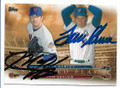 MATT HARVEY & TOM SEAVER NEW YORK METS DOUBLE AUTOGRAPHED BASEBALL CARD #41719D