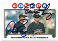 2008 TOPPS CLASSIC COMBOS #UH124 ALEX RODRIGUEZ & EVAN LONGORIA NEW YORK YANKEES  & TAMPA BAY RAYS ROOKIE DOUBLE AUTOGRAPHED BASEBALL CARD #41719G