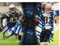 BRANDON LLOYD & WES WELKER NEW ENGLAND PATRIOTS DOUBLE AUTOGRAPHED FOOTBALL CARD #41719J