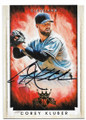 COREY KLUBER CLEVELAND INDIANS AUTOGRAPHED BASEBALL CARD #42619H