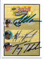 JOE MAUER, HANLEY RAMIREZ & TROY TULOWITZKI MINNESOTA TWINS, MIAMI MARLINS & COLORADO ROCKIES TRIPLE AUTOGRAPHED BASEBALL CARD #42919i