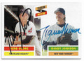 HERB SCORE & RANDY JOHNSON CLEVELAND INDIANS & NEW YORK YANKEES DOUBLE AUTOGRAPHED BASEBALL CARD #50319C