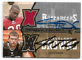 GAINES ADAMS & JOE THOMAS TAMPA BAY BUCCANEERS & JOE THOMAS CLEVELAND BROWNS DOUBLE AUTOGRAPHED PIECE OF THE GAME ROOKIE FOOTBALL CARD #60619A