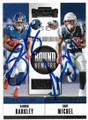 SAQUAN BARKLEY & SONY MICHEL NEW YORK GIANTS & NEW ENGLAND PATRIOTS DOUBLE AUTOGRAPHED ROOKIE FOOTBALL CARD #70619A