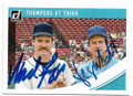 WADE BOGGS & GEORGE BRETT BOSTON RED SOX & KANSAS CITY ROYALS DOUBLE AUTOGRAPHED BASEBALL CARD #70719D