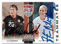 ABBY WAMBACH & HEATHER MITTS USA WOMEN'S SOCCER DOUBLE AUTOGRAPHED SOCCER CARD #72419D