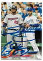 MIGUEL SANO & ERIC HOSMER MINNESOTA TWINS & KANSAS CITY ROYALS DOUBLE AUTOGRAPHED BASEBALL CARD #73119B