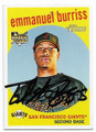 EMMANUEL BURRISS SAN FRANCISCO GIANTS AUTOGRAPHED ROOKIE BASEBALL CARD #81819C