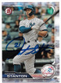 GIANCARLO STANTON NEW YORK YANKEES AUTOGRAPHED BASEBALL CARD #90319A