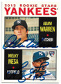ADAM WARREN & MELKY MESA NEW YORK YANKEES DOUBLE AUTOGRAPHED ROOKIE BASEBALL CARD #90919C