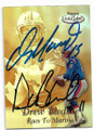 DAN MARINO & DREW BLEDSOE MIAMI DOLPHINS AND NEW ENGLAND PATRIOTS DOUBLE AUTOGRAPHED FOOTBALL CARD #111219D