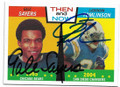 GALE SAYERS & LaDAINIAN TOMLINSON CHICAGO BEARS & SAN DIEGO CHARGERS DOUBLE AUTOGRAPHED FOOTBALL CARD #111619F