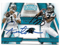 CAM NEWTON & KELVIN BENJAMIN CAROLINA PANTHERS DOUBLE AUTOGRAPHED FOOTBALL CARD #112519D