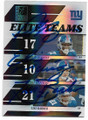 PLAXICO BURRESS, ELI MANNING & TIKI BARBER NEW YORK GIANTS TRIPLE AUTOGRAPHED & NUMBERED FOOTBALL CARD #120719D